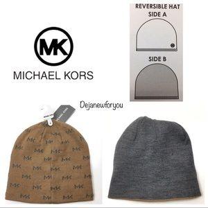 Michael Kors Tan and GrayReversible Beanie